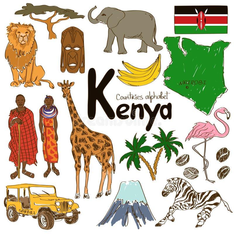 Kolekcja Kenja ikony royalty ilustracja