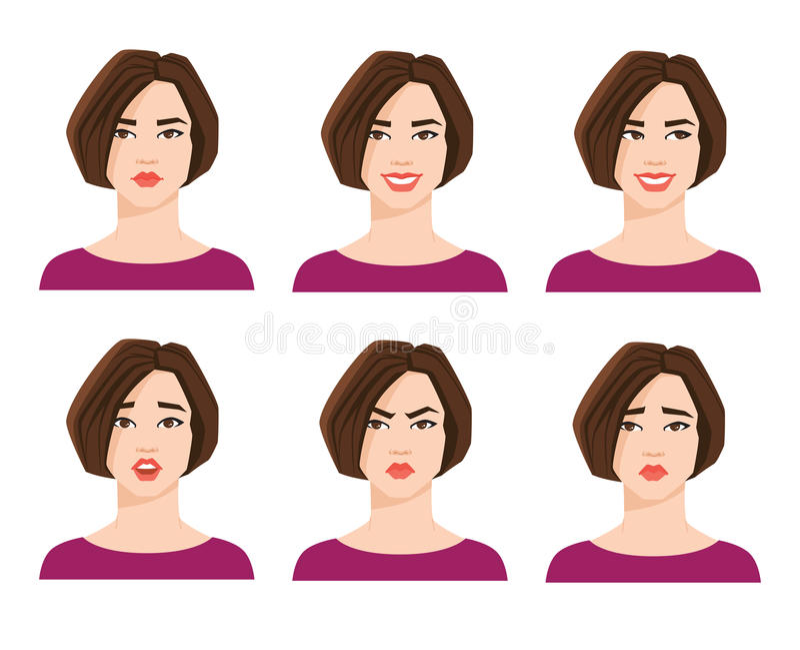 Kolekcja kobiety ` s emocje royalty ilustracja