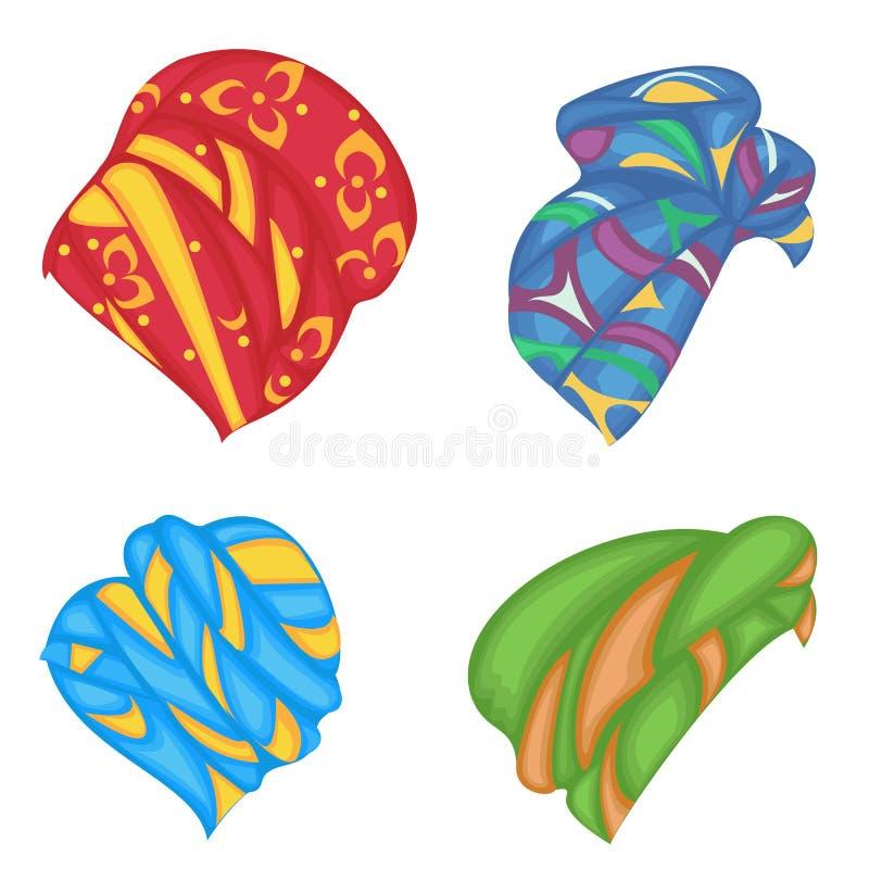Kolekcja Kobiety s pi?ropusz, turban Jaskrawy trykotowy koloru szalik Odziewa jest pi?kny i elegancki kresk?wki ilustracj myszy u ilustracji