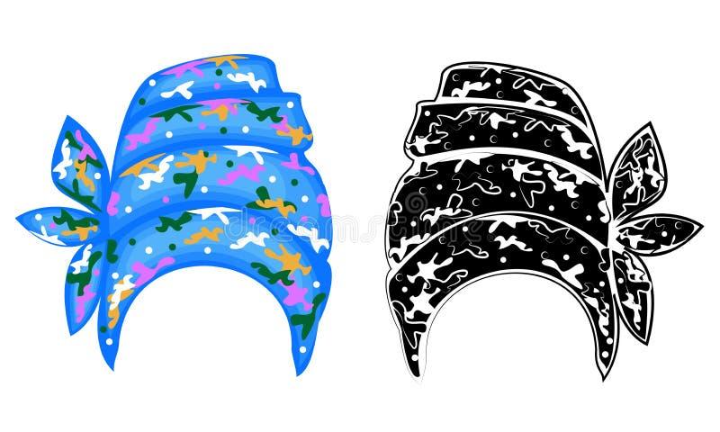 Kolekcja Kobiety s pi?ropusz, turban Jaskrawy trykotowy szalik Odziewa jest pi?kny i elegancki Graficzny wizerunek ustalony wekto ilustracja wektor