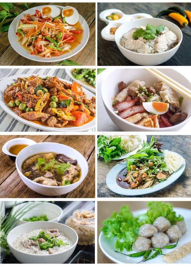 Kolekcja kolaż od fotografii tajlandzki jedzenie fotografia royalty free