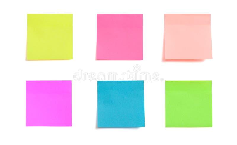 Kolekcja kolorowa poczta ja papierowa notatka odizolowywająca na białym tle fotografia stock