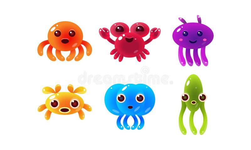 Kolekcja kolorowe glansowane denne istoty, śliczna morskiego zwierzęcia charakterów wektoru ilustracja royalty ilustracja