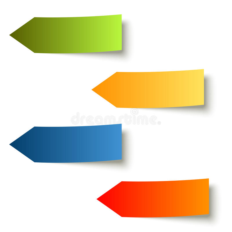 Kolekcja - kolorowe kleiste notatki strzałkowate ilustracja wektor