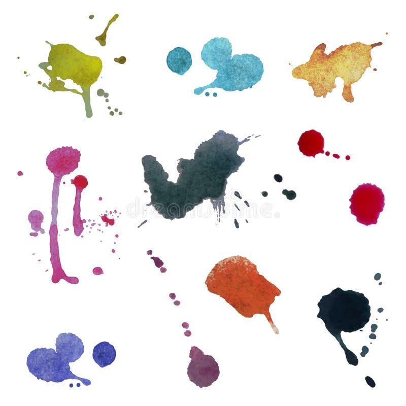 Kolekcja kolorowi abstrakcjonistyczni akwareli tła Wektor, ilustracja wektor