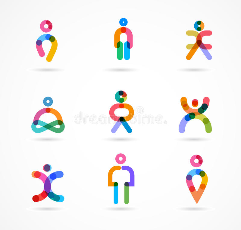 Kolekcja kolorowi abstrakcjonistyczni wektorowi ludzie ilustracja wektor