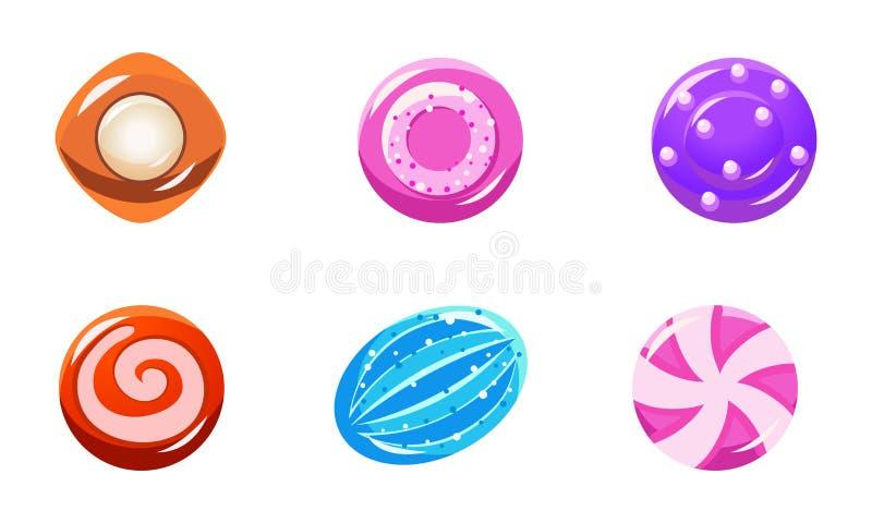 Kolekcja kolorowi glansowani cukierki, cukierki różni kształty, interfejs użytkownika wartości dla mobilnych apps lub gra wideo, ilustracji