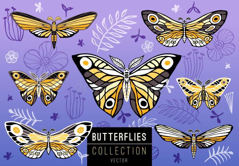 Kolekcja kolorowi motyle na kwiecistym tle, vecto ilustracji