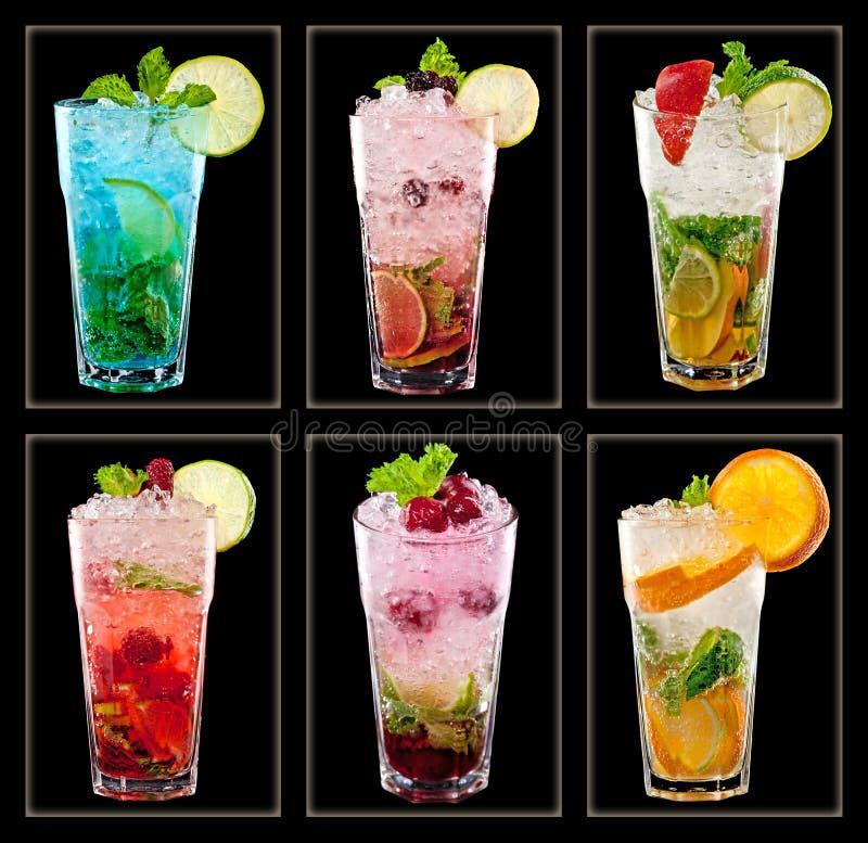 Kolekcja kolorowi tropikalni koktajle obrazy stock
