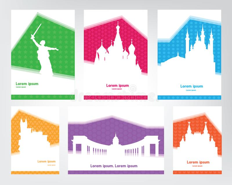 Kolekcja kolorowi turystyczni plakaty z białymi sylwetka rosjanina widokami Podróż szablony z przestrzenią dla teksta royalty ilustracja