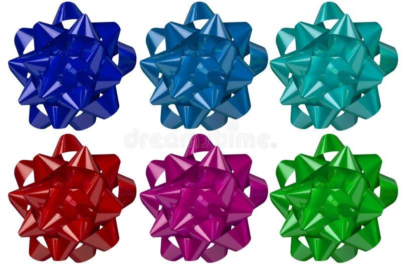 Kolekcja kolorowy łęku faborek Sześć błyszczących różnych kolorów dla bożych narodzeń zdjęcia royalty free