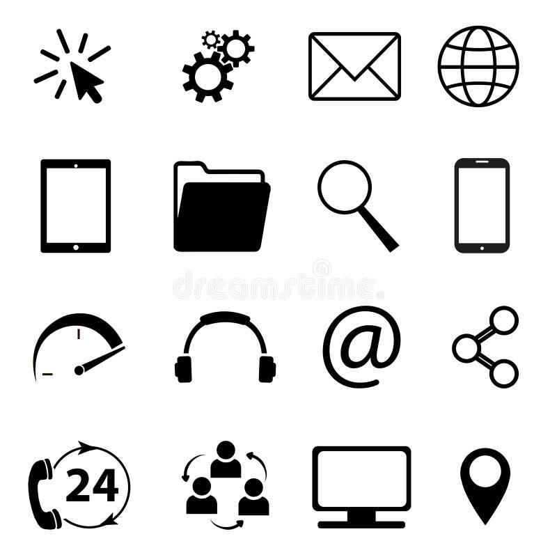 Kolekcja komunikacyjni symbole Kontakt, email, telefon komórkowy, wiadomość, technologii bezprzewodowych ikony etc, również zwróc royalty ilustracja