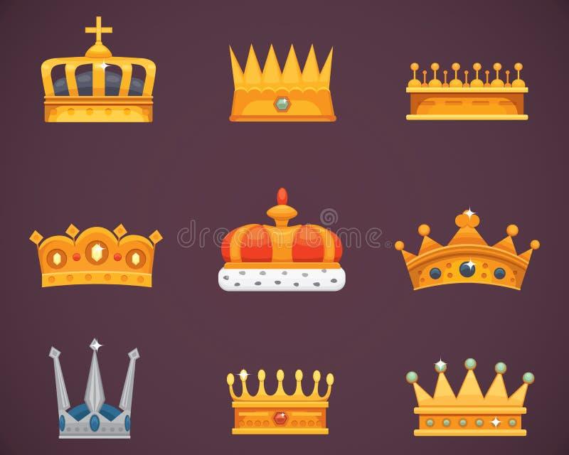 Kolekcja koron nagrody dla zwycięzców, mistrzowie, przywódctwo Królewski królewiątko, królowa, princess korony ilustracja wektor