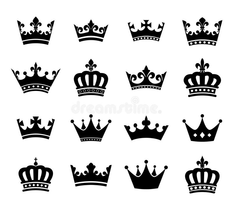 Kolekcja korony sylwetki symbole vol 2 royalty ilustracja