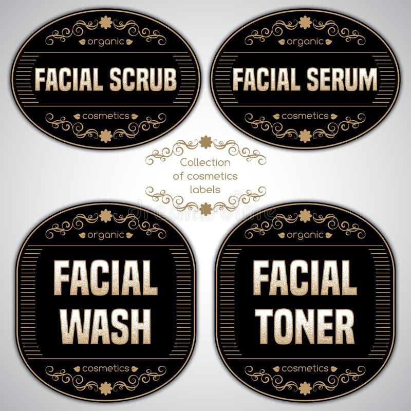 Kolekcja kosmetyk etykietki ilustracja wektor