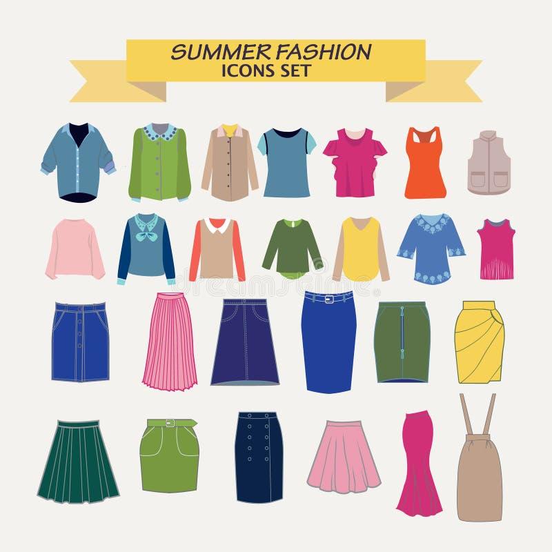 Kolekcja koszula, bluzki i spódnicy, royalty ilustracja