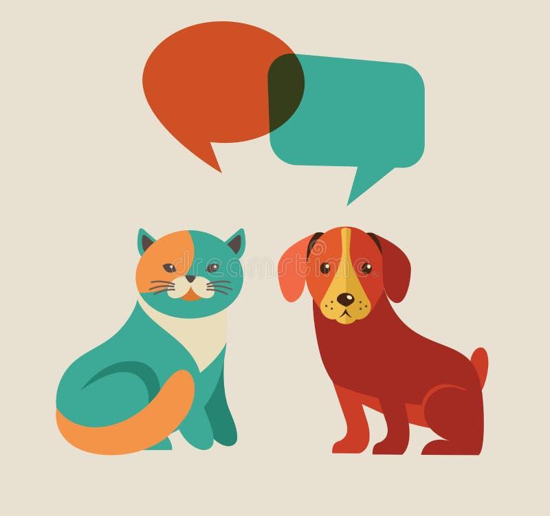 Kolekcja kot i pies z mową gulgocze ilustracja wektor