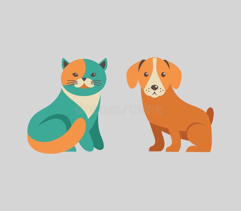 Kolekcja kota i psa wektorowe ikony i royalty ilustracja