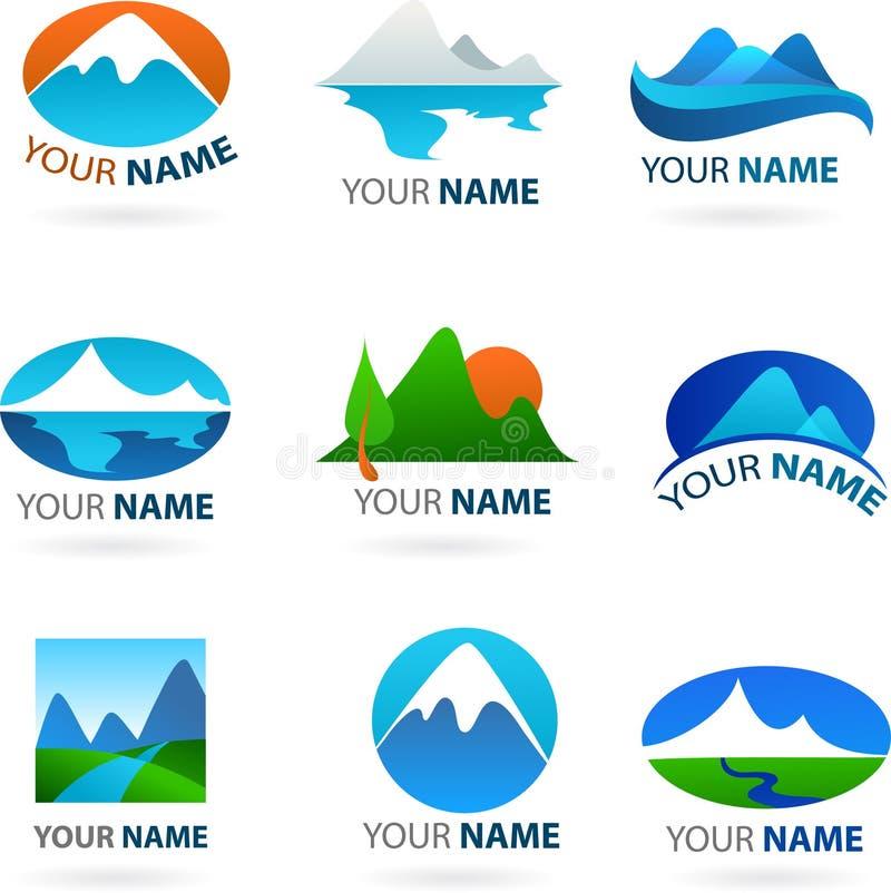 Kolekcja krajobrazów logowie ilustracji