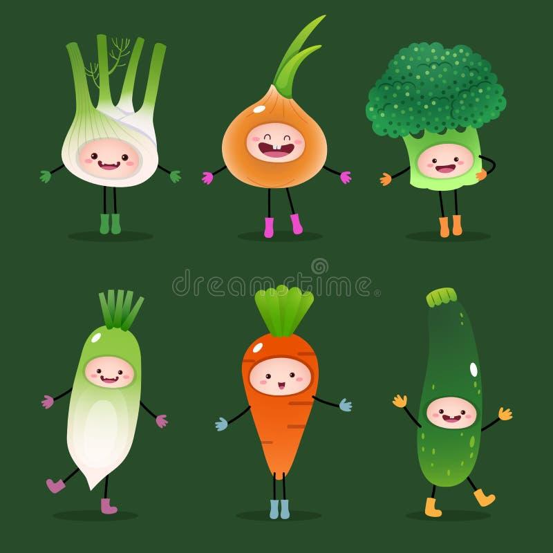 Kolekcja kreskówek warzywa ilustracji