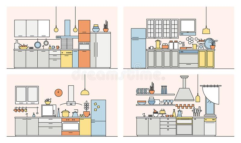 Kolekcja kuchnie pełno nowożytny meble, gospodarstw domowych urządzenia, cookware, kulinarni udostępnienia i domowe dekoracje, ilustracji