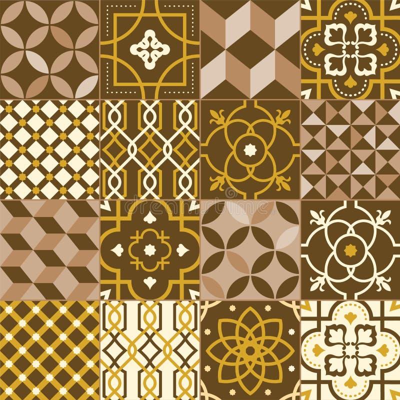 Kolekcja kwadrat płytki dekorował z różnorodnymi wzorami lub ornamentami Plik ornamentacyjne dekoracje z orientalnym royalty ilustracja