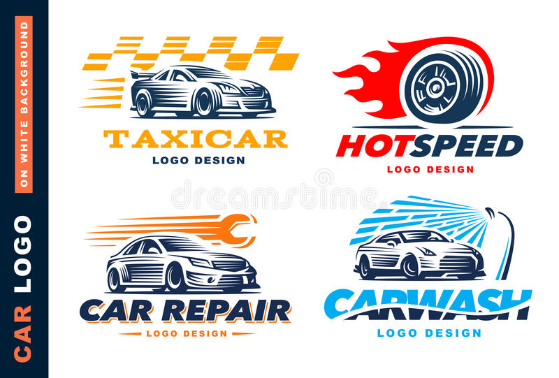 Kolekcja logowie samochody, taxi usługa, obmycie, naprawa, rywalizacje royalty ilustracja