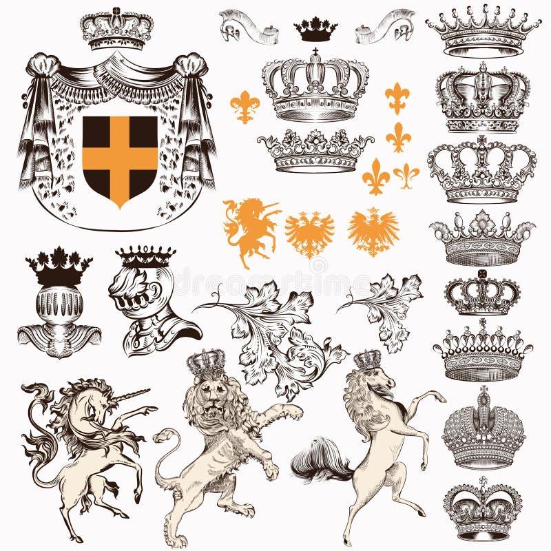 Kolekcja lub set rocznik projektujący heraldyczny elementów koni jednorożec lew osłaniamy korony i inny royalty ilustracja