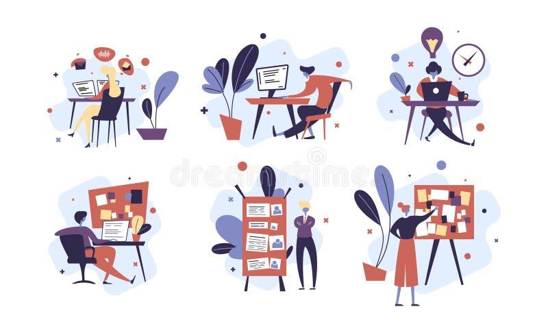 Kolekcja ludzie pomy?lnie organizuje ich spotkania i zadania Set sceny z skutecznym i wydajnym ilustracja wektor