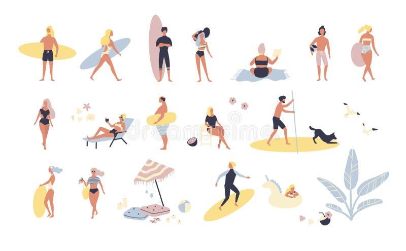 Kolekcja ludzie wykonuje lato plenerowe aktywność przy plażą - sunbathing, chodzący, niosący surfboard, pływa ilustracji