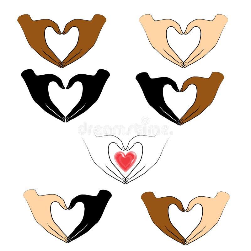 Kolekcja Ludzkie r?ki sk?adaj? w formie serca i czerwonego serca Ludzie r??ne narodowo?ci Walentynki s dzie? ilustracja wektor
