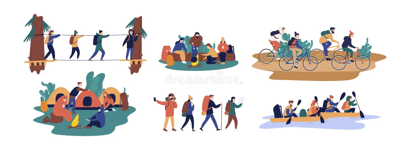 Kolekcja mężczyźni i kobiety podróżuje wpólnie Set przyjaciele lub turyści jedzie bicykle, flisactwo na łodzi, chodzi ilustracja wektor
