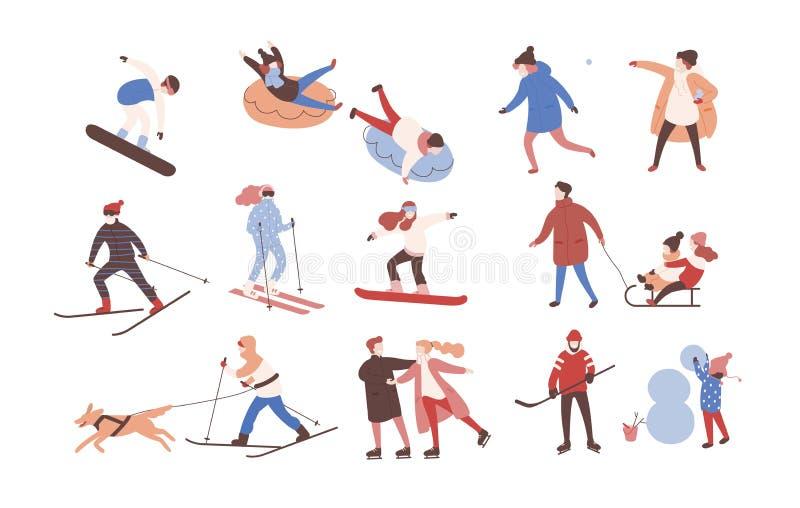 Kolekcja męscy i żeńscy postać z kreskówki wykonuje zim aktywność Set mężczyzna i kobiety ubierał w outerwear ilustracja wektor