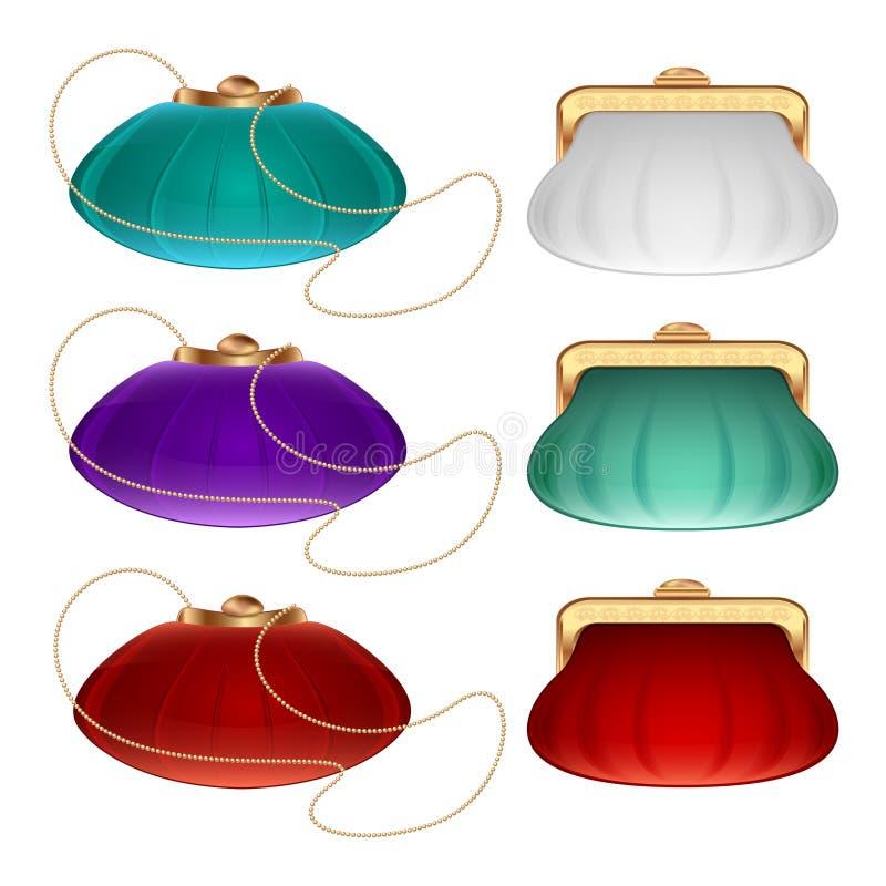 Kolekcja małe teatr torebki, kiesy w różnych kolorach biel, czerwień, błękit torebka i kiesa i, i royalty ilustracja