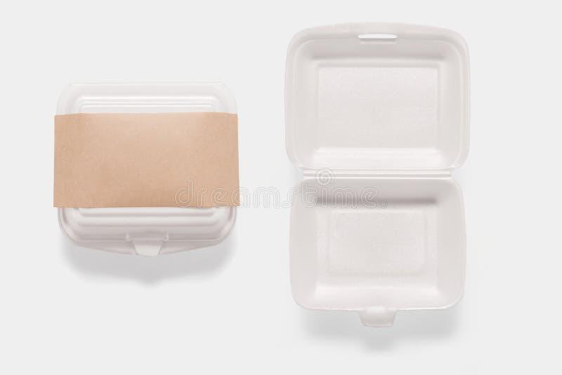 Kolekcja mockup styrofoam pudełko ustawia odosobnionego na białym tle obrazy stock