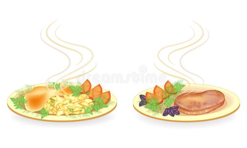 Kolekcja Na talerzu drumstick kurczaka mięso, stek Garniruje grule, pomidoru, zieleni koper, basila i pietruszki sma??cych, ilustracji