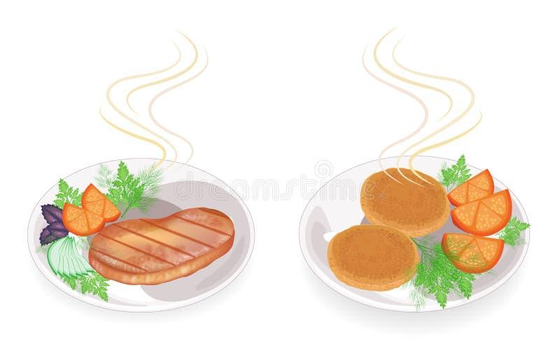 Kolekcja Na talerzu gorący smażący mięsny stek i cutlets Garnirunku pomidor, pietruszka, koper Smakowity i od?ywczy jedzenie Set ilustracji