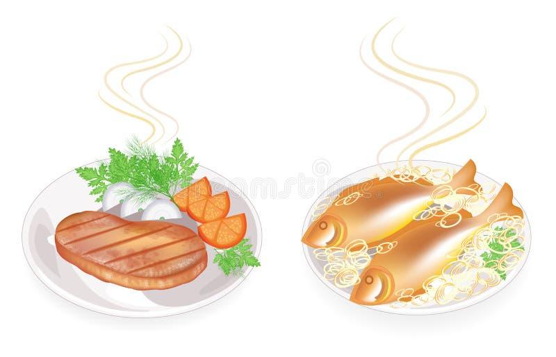 Kolekcja Na talerzu gorący smażący mięsny stek i ryba Garniruje cebuli, pomidor, pietruszka, koper Smakowity i od?ywczy jedzenie  ilustracja wektor