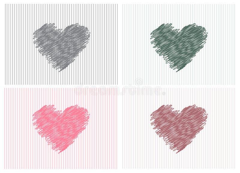 Kolekcja nakreśleń serca, Wektorowa ilustracja ilustracji