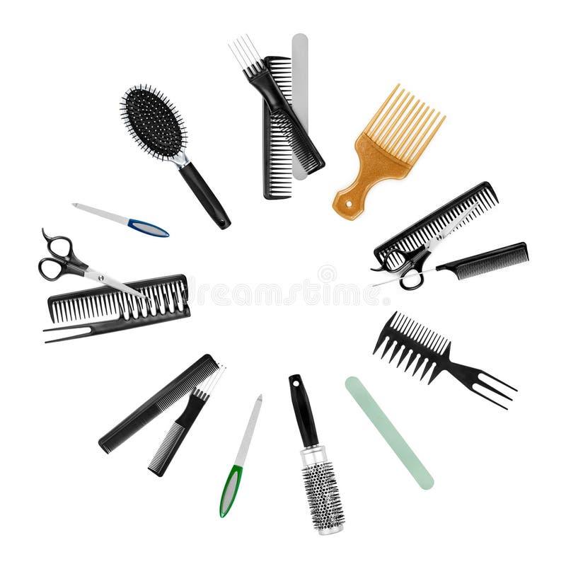 Kolekcja narzędzia dla fachowego włosianego stylisty obraz stock