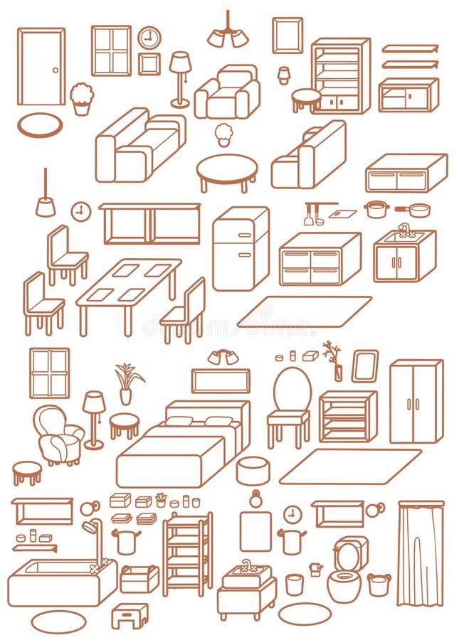 Kolekcja Nastawcza Wewnętrzna Meblarska projekt ikona infographic, krzesło, stół, daybed, kanapa, stolec, okno, lampa, spiżarnia royalty ilustracja