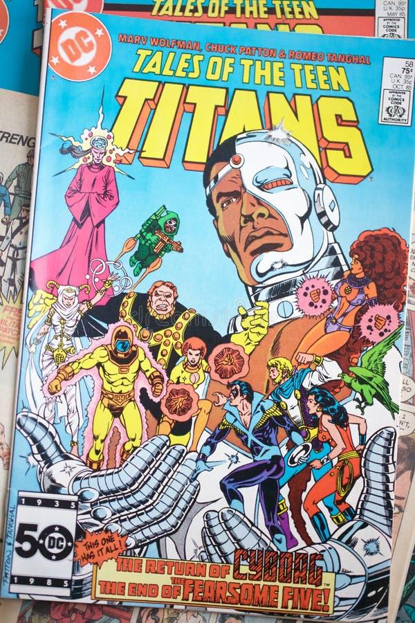 Kolekcja Nastoletni tytanu bohatera komiksy produkuj?cy DC Comics obraz stock