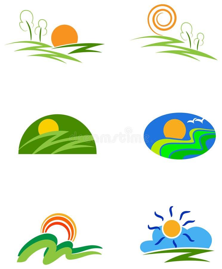 kolekcja natur ikony ilustracja wektor