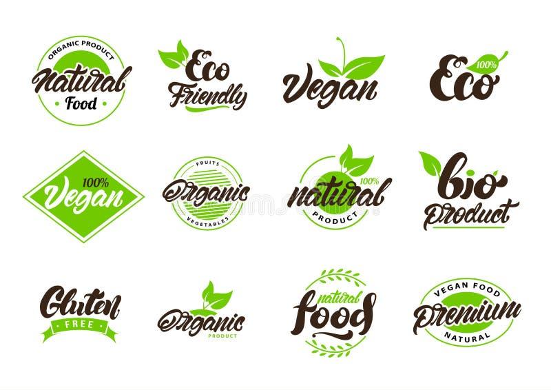Kolekcja naturalne lub eco etykietki, logo Weganin, Życiorys, gluten Wektorowy ilustracyjny projekt ilustracja wektor
