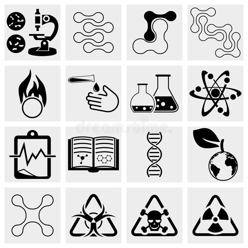 Nauki i chemii ikony set ilustracji