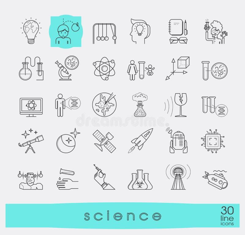 Kolekcja naukowe kreskowe ikony ilustracja wektor