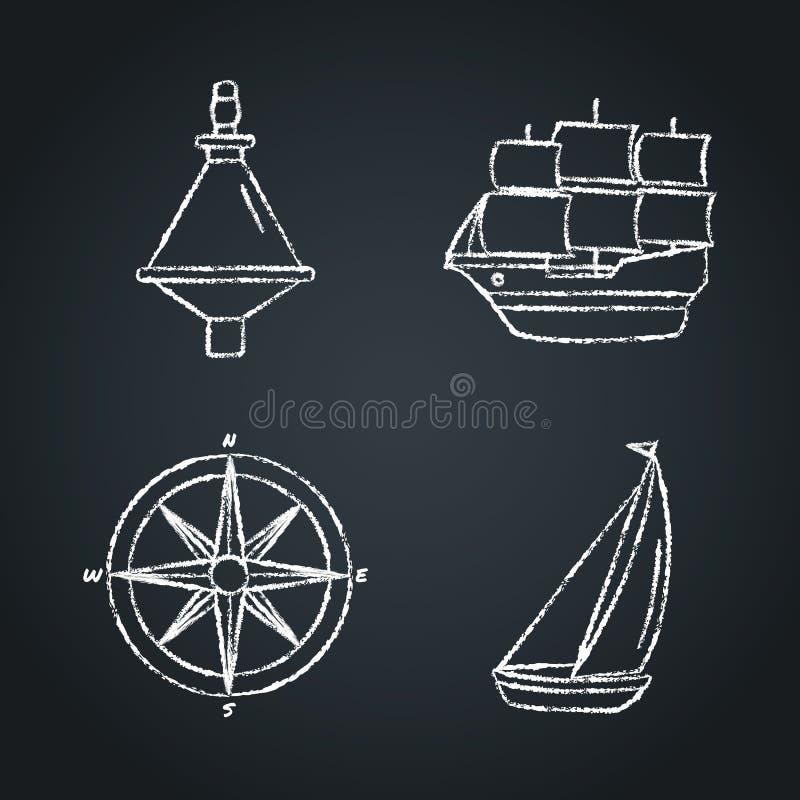Kolekcja nautyczni ikon nakreślenia na chalkboard ilustracji
