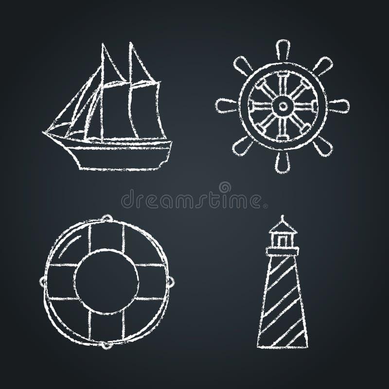 Kolekcja nautyczni ikon nakreślenia na chalkboard royalty ilustracja