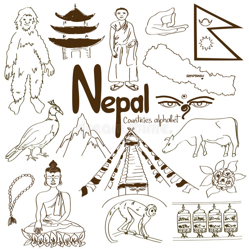 Kolekcja Nepal ikony royalty ilustracja