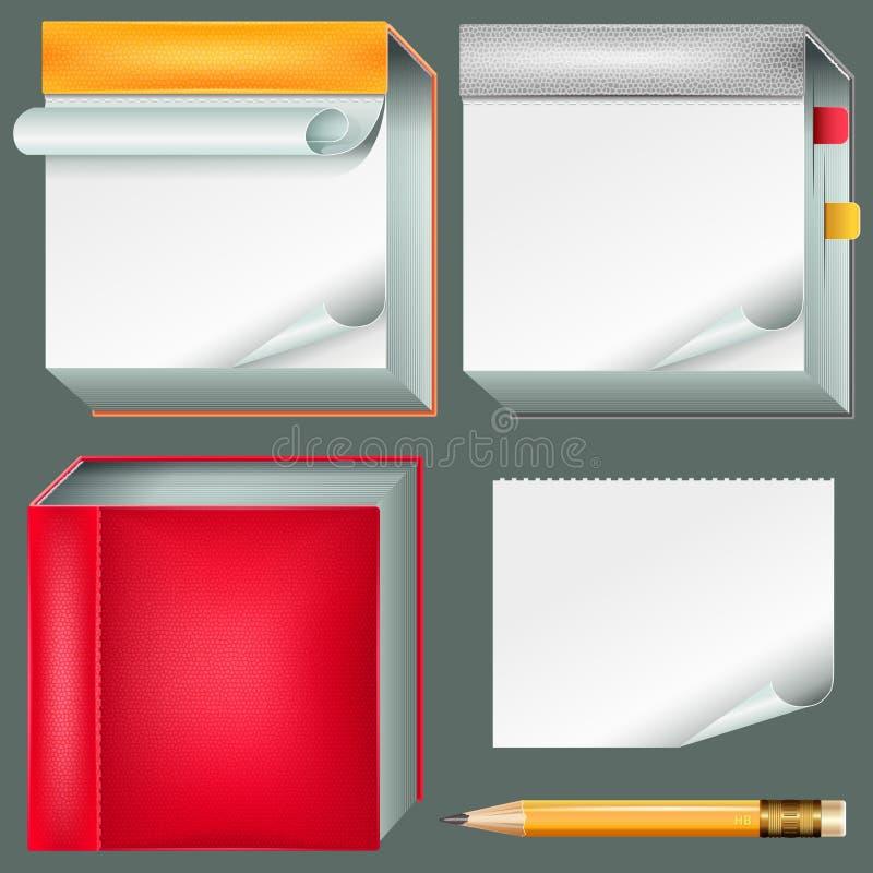 Kolekcja notatniki i ołówek ilustracji